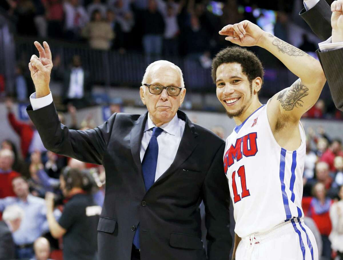 SMU coach Larry Brown, celebrating here with guard Nic Moore (11) after the Mustangs 69-60 win over Gonzaga, still feels there was a double standard from the NCAA against his program.