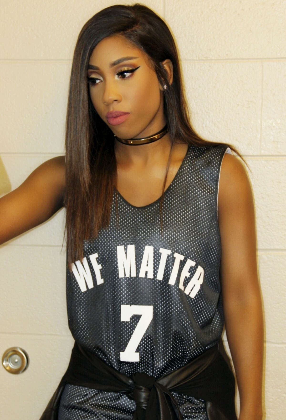 This photo provided by Atlantic Records shows Sevyn Streeter at an arena for a game between the Philadelphia 76ers and Oklahoma City Thunder in Philadelphia on Wednesday.