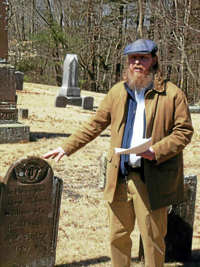 """Photo Caption:  Historian Kevin J. Tulimieri will take people on a walking tour of two cemeteries: Young Street and Skinnerville cemeteries in East Hampton on the next """"Explore East Hampton""""s monthly series of walks on Sunday, April 24 at 1 p.m.The tour will take approximately 1.5 hours.  Heavy rain will cancel the walk.  For further information about upcoming walks or the Chatham Historical Society, contact Marty Podskoch, coordinator of the 'Explore East Hampton"""" walks at 860 267-2442 or podskoch@ Comcast.net. Photo: Journal Register Co. / COPYRIGHT,2011"""