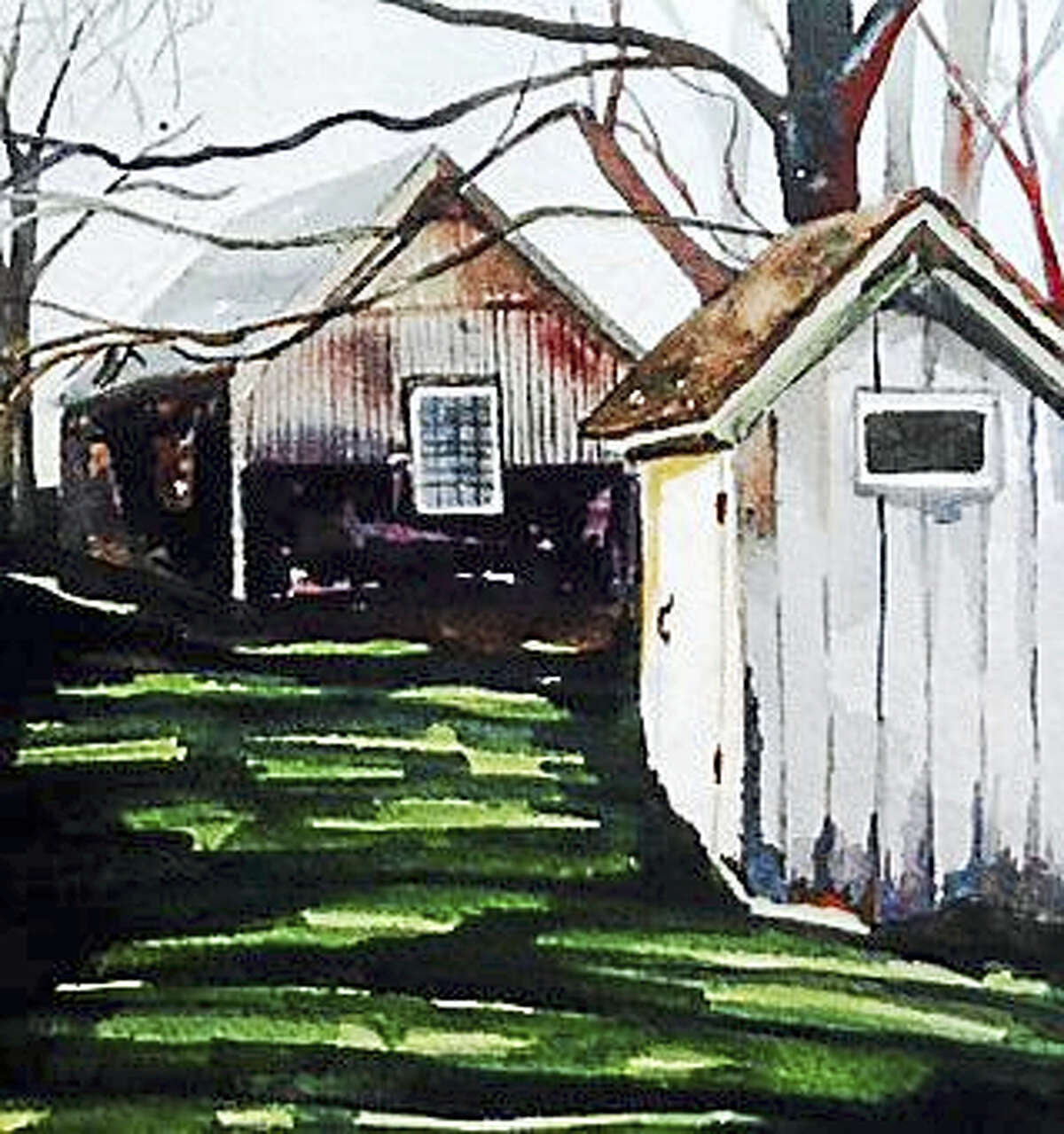 """""""Barn and Outhouse"""" by Claudia Van Nes of Chester"""