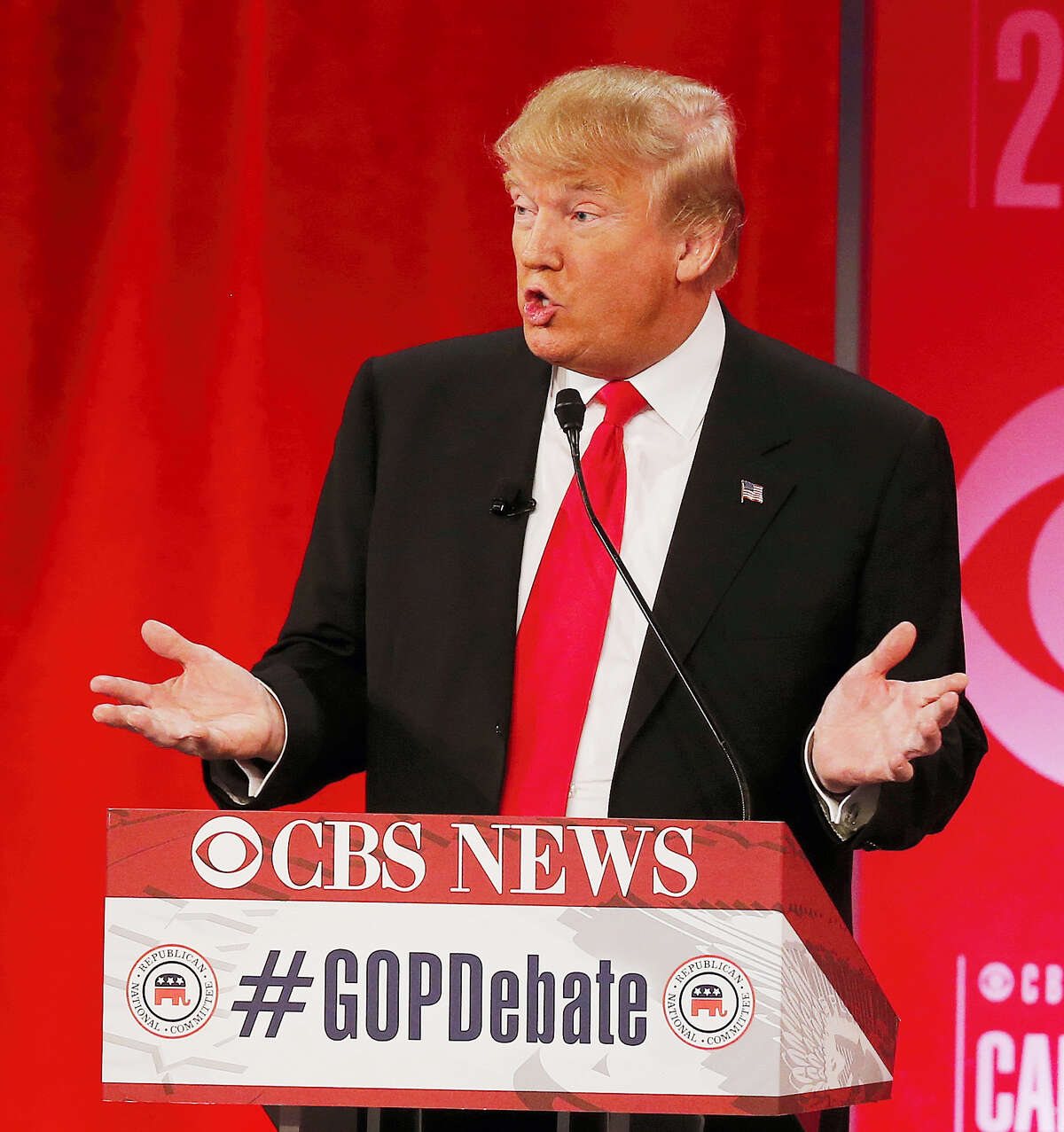 ASSOCIATED PRESS Republican presidential candidate, businessman Donald Trump speaks during the CBS News Republican presidential debate at the Peace Center, Saturday in Greenville, S.C.
