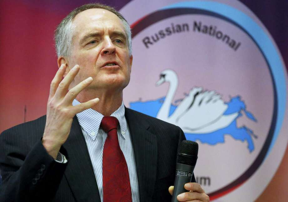 "In a March 22, 2015 photo, U.S. writer Jared Taylor, author of the book ""White Identity"" speaks during the International Russian Conservative Forum in St. Petersburg, Russia. Taylor, a Yale University-educated, self-described ""race realist,"" runs the New Century Foundation. The federal government has allowed four groups at the forefront of the white nationalist movement, including the New Century Foundation, to register as charities and raise more than $7.8 million in tax-deductible donations over the past decade, according to an Associated Press review. Photo: Dmitry Lovetsky — AP File Photo  / Copyright 2016 The Associated Press. All rights reserved."