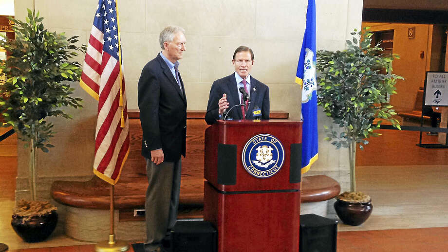 U.S. Sen. Richard Blumenthal and CT Commuter Rail Council Vice Chair John Hartwell spoke at Union Station Friday afternoon. Photo: Journal Register Co.