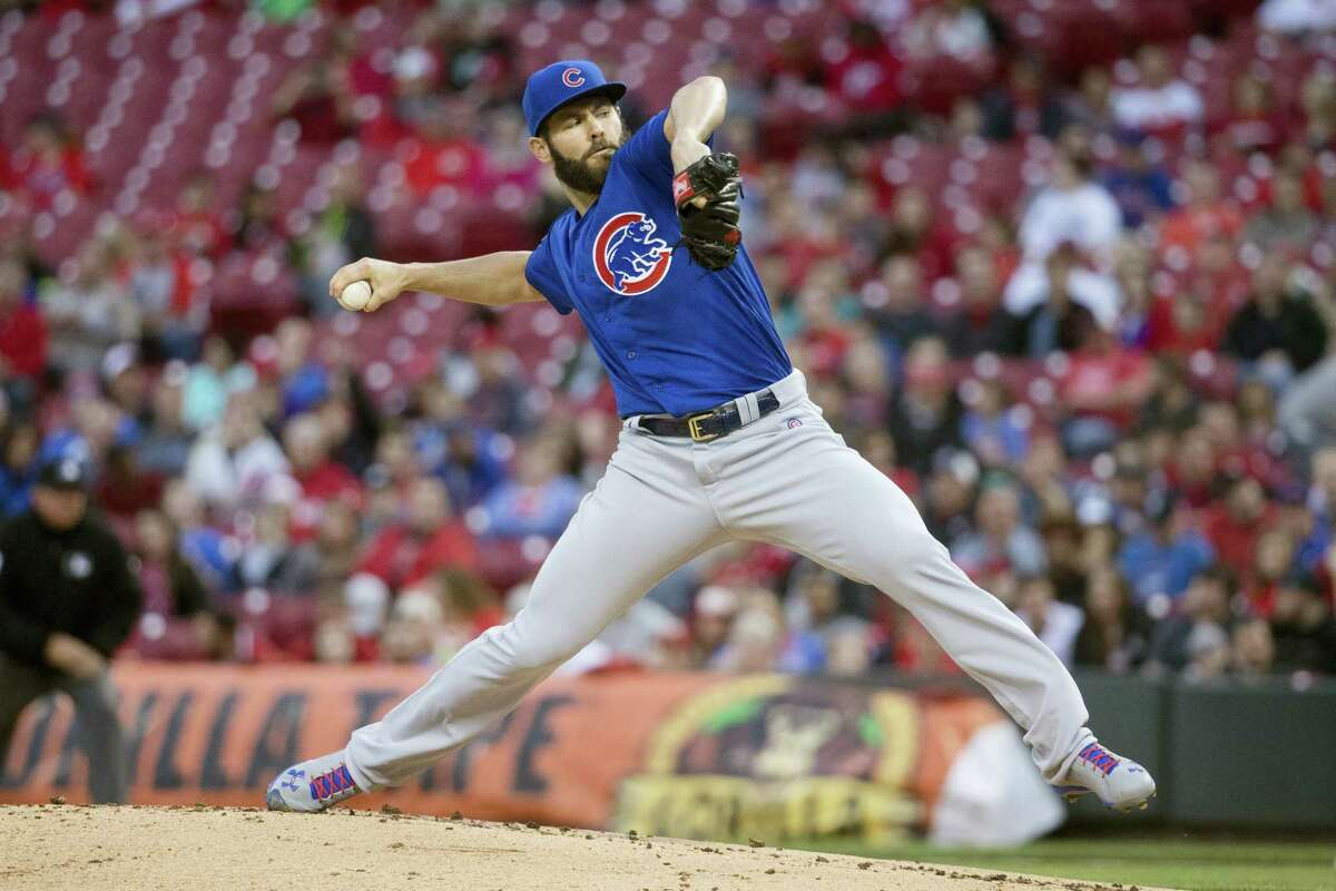 Chicago Cubs starting pitcher Jake Arrieta throws in the first inning of his second career no-hitter against the host Cincinnati Reds.