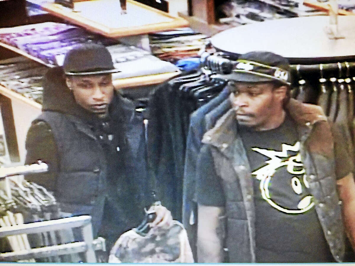 Police are asking the public to help them find two men who allegedly stole items Wednesday from two stores at the Clinton Crossings Premium Outlets.