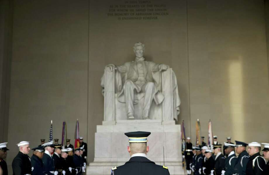ASSOCIATED PRESS An honor cordon is in place during a Presidential Full Honor Wreath-Laying Ceremony in celebration of the 207th birthday of President Abraham Lincoln, Feb. 12,  at the Lincoln Memorial in Washington. Photo: AP / AP
