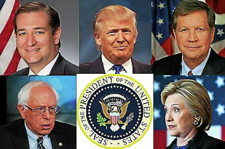 New Jersey is gearing up for a 2016 presidential candidate showdown in the state's June 7 primary as Republican candidates (top, from left) Ted Cruz, Donald Trump and John Kasich and Democratic candidates (bottom, from left) Bernie Sanders and Hillary Clinton compete for delegates. Photo: Journal Register Co.
