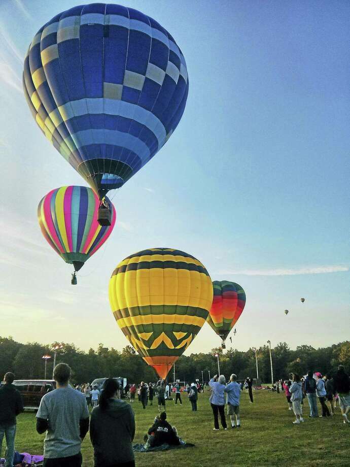 Balloons take to the sky at last year's festival. Photo: Photo Courtesy Of Plainville Hot Air Balloon Festival