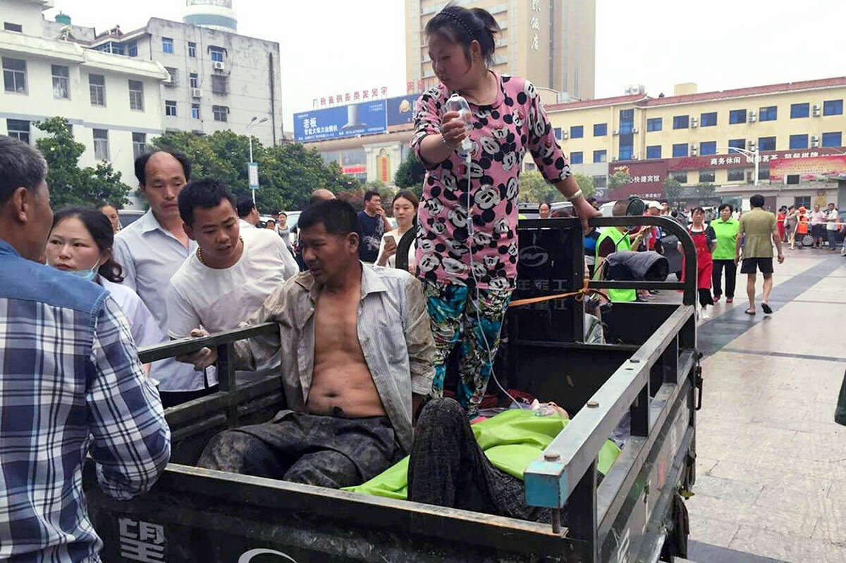 Injured residents arrive at a hospital in the aftermath of a tornado that hit Funing county, in Yancheng city in eastern China's Jiangsu Province on Thursday, June 23, 2016. A powerful tornado killed dozens and destroyed large numbers of buildings Thursday in the eastern Chinese province of Jiangsu, state media reported.