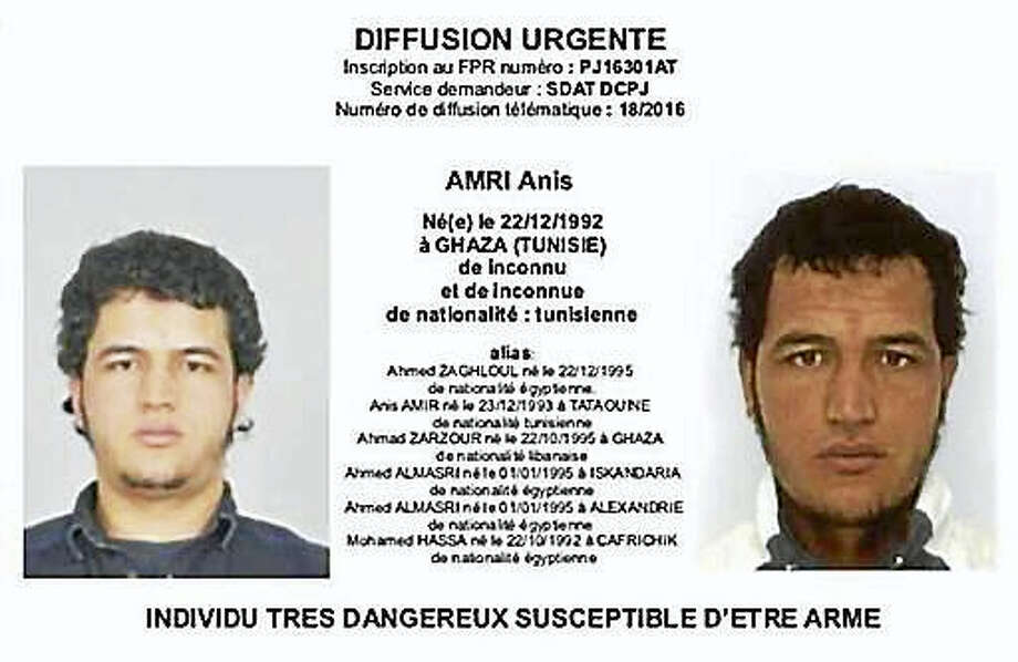 The photo which was sent to European police authorities and obtained by AP on Wednesday, Dec. 21, 2016 shows Tunisian national Anis Amri who is wanted by German police for an alleged involvement in the Berlin Christmas market attack. Several people died when a truck ran into a crowded Christmas market on Dec. 19. Photo: Police Via AP