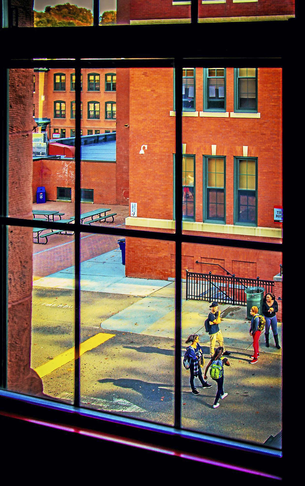 """Windowed School Yard"" by Claudia Post, is on display at Maple and Main Gallery in Chester."