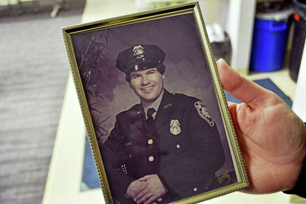 Middletown Police Lt. Heather Desmond presented Liistro with this portrait from when he first joined the force in February 1978.