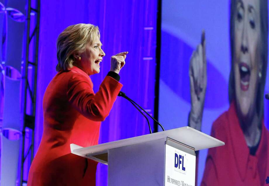 ASSOCIATED PRESS Democratic presidential candidate Hillary Clinton speaks at the Democratic-Farmer-Labor party's Humphrey-Mondale dinner Friday in St. Paul, Minnesota. Photo: AP / AP