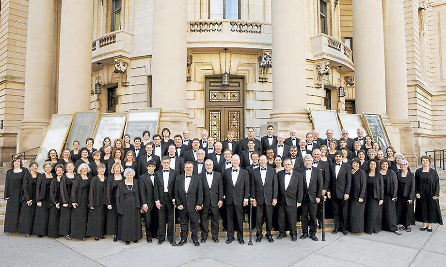 The New Haven Chorale in front of Woolsey Hall. Photo: Photo Courtesy Of NHC