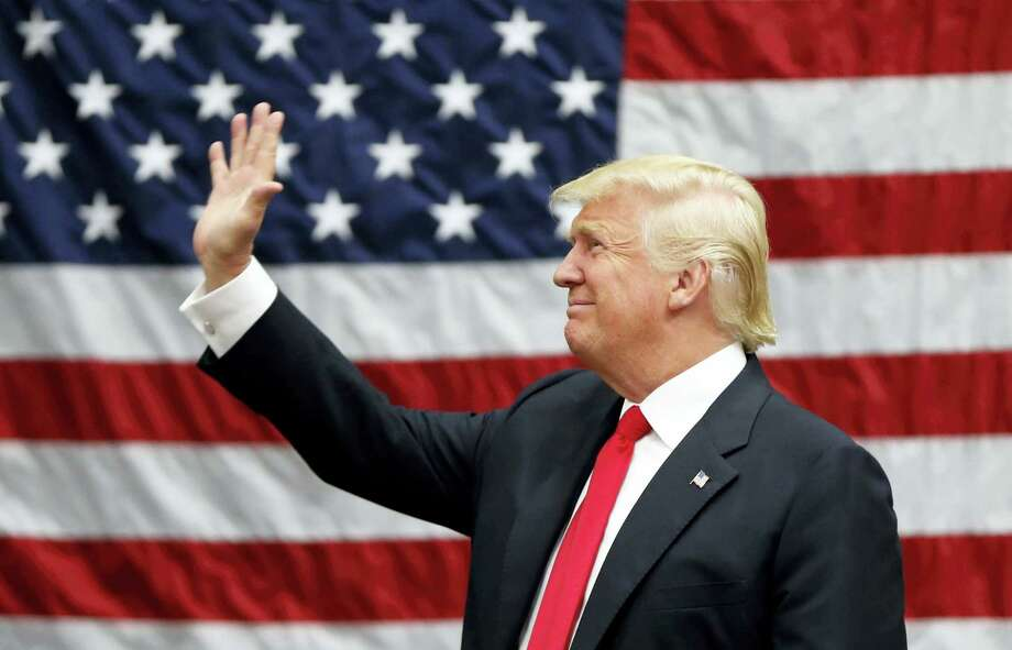 Republican presidential candidate Donald Trump arrives to speak at a campaign rally in Akron, Ohio, Monday. Photo: Gerald Herbert — The Associated Press  / Copyright 2016 The Associated Press. All rights reserved. This material may not be published, broadcast, rewritten or redistribu