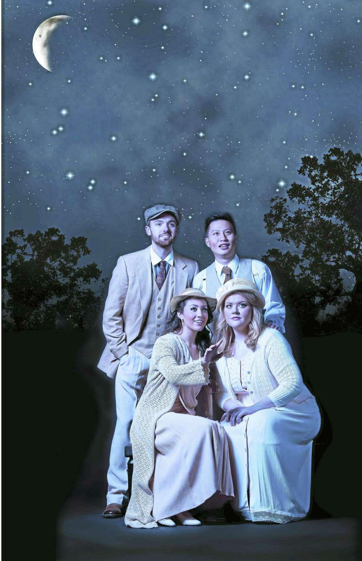 Front, Jessica Pray, soprano, as Helena, and Kathleen Reveille, mezzo-soprano, as Hermia. Rear, Dean Murphy, baritone, as Demetrius and Ting Li, tenor, as Lysander.
