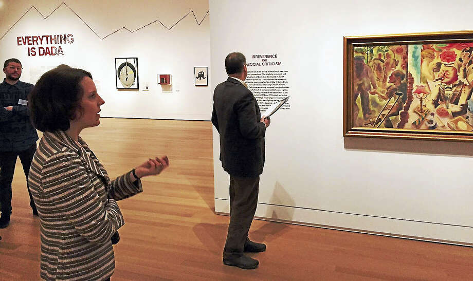 Curator Frauke Josenhans, left, talks about how Dada evolved in other countries. Photo: Joe Amarante — New Haven Register