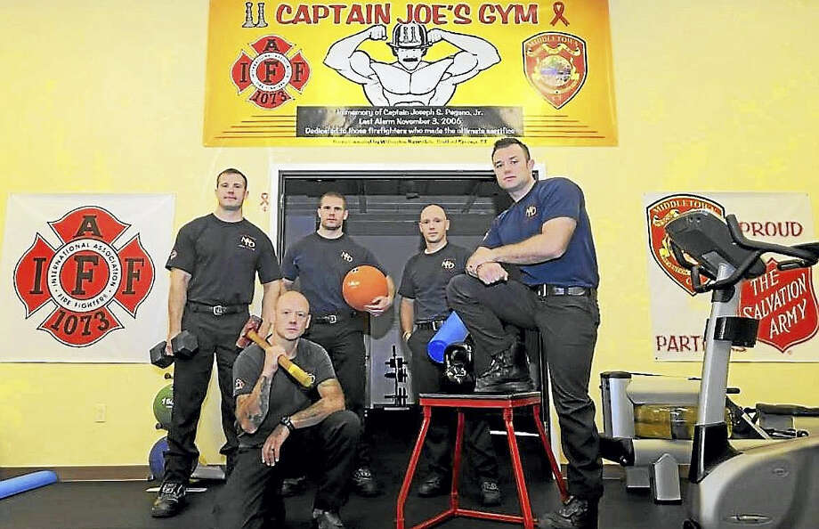 Contributed photo  Middletown Fire Department certified peer fitness trainers include Sal Cretella, Joel Gilloly, James Ehman, Nick Mayo and Pat Ehman. Photo: Journal Register Co.