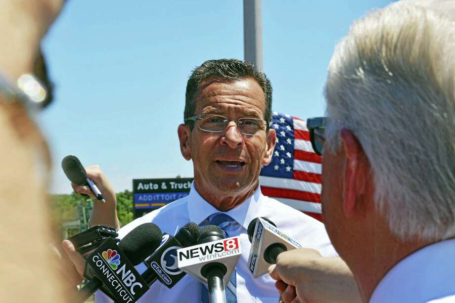 Gov. Dannel P. Malloy was in Middletown Tuesday to announce plans to remove traffic signals along the portion of Route 9 that runs through the city. Photo: Cassandra Day — The Middletown Press