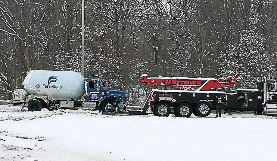 The scene of a propane truck rollover Saturday afternoon on Route 9 North. Photo: Courtesy Robert Ross