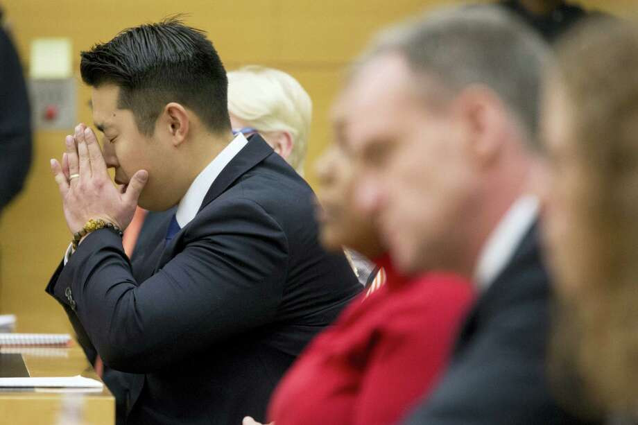 Police officer Peter Liang reacts as the verdict is read during his trial on charges in the shooting death of Akai Gurley, Thursday, Feb. 11, 2016 at Brooklyn Supreme court in New York in New York. Photo: AP Photo/Mary Altaffer, Pool / Pool, AP