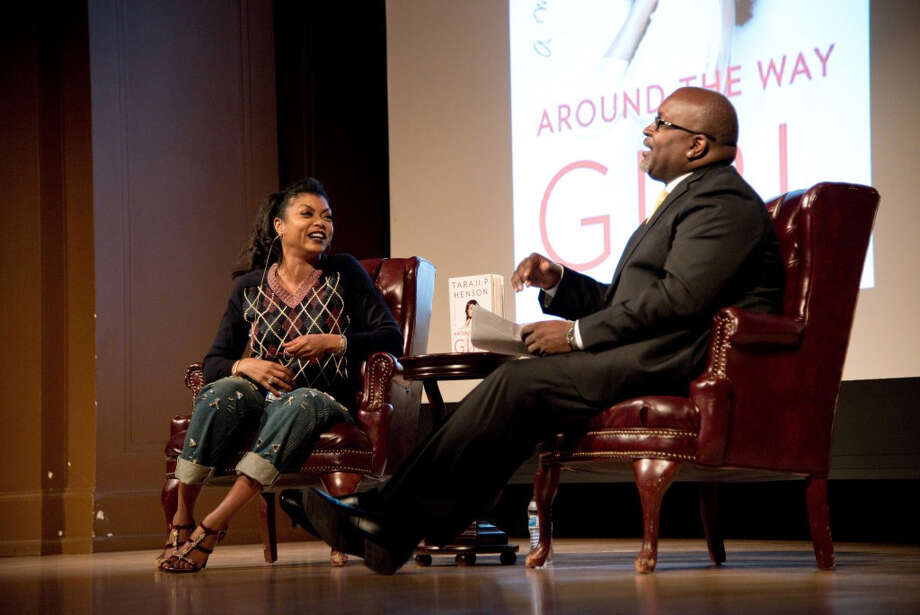 "Taraji P. Henson speaks to NPR's TV critic Eric Deggans at a Smithsonian Associates' presentation of her memoir ""Around The Way Girl"" on Oct. 22, 2016. Photo: Photo Courtesy: Norwood Photography Via The Washington Post  / Norwood Photography"