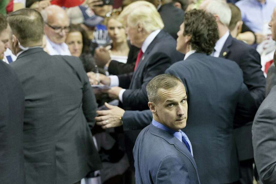 In this April 18 file photo, Republican presidential candidate Donald Trump's campaign manager Corey Lewandowski walks a rope line as the candidate signs autographs during a campaign stop at the First Niagara Center in Buffalo, New York. Photo: ASSOCIATED PRESS  / AP