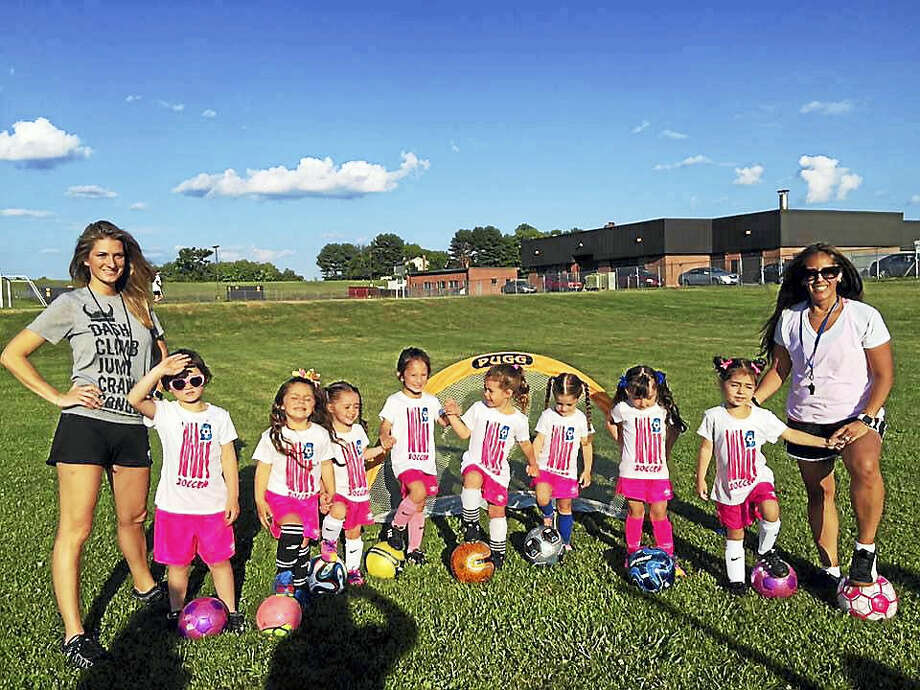 Super Kicks LLC founder Jamila Caceres Ranno, right, started the business, in part, to support her daughter Lolia, 4, (next to her) who also plays on a competitive soccer team in Middletown. Photo: Contributed Photo