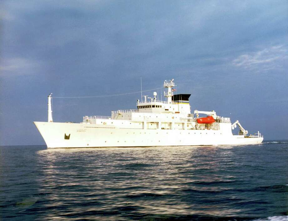 In this undated photo released by the U.S. Navy Visual News Service, the USNS Bowditch, a T-AGS 60 Class Oceanographic Survey Ship, sails in open water. The USNS Bowditch, a civilian U.S. Navy oceanographic survey ship, was recovering two drones on Thursday when a Chinese navy ship approached and sent out a small boat that took one of the drones, said Navy Capt. Jeff Davis, a Pentagon spokesman. He said the Chinese navy ship acknowledged radio messages from the Bowditch, but did not respond to demands the craft be returned. Photo: CHINFO, Navy Visual News Via AP / CHINFO, Navy Visual News Service