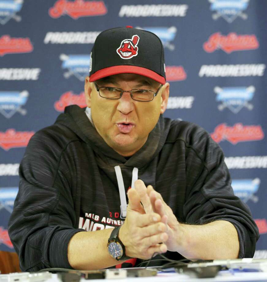 Indians manager Terry Francona speaks to the media during a team practice Sunday in Cleveland. Photo: Aaron Josefczyk — The Associated Press  / FR171101 AP