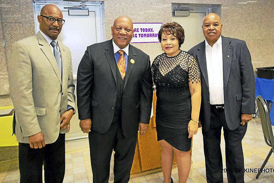 Middlesex County NAACP's Freedom Fund Dinner was held on Oct. 18 at Cross Street A.M.E. Zion Church in Middletown. Chamber member Donald DeVivo, president, Dattco, received the Middlesex County 2016 Business Award and chamber member Catherine Rees, Director of Community Benefit at Middlesex Hospital, received the Community Partnership Award. From left are: Workforce Program Director Lorenzo Marshall, President State Conference of NAACP branches Scot X. Esdaile, President Middlesex County NAACP Rosa Browne and First Vice President Middlesex County NAACP Anthony Gaunichaux. Photo: De Kine Photo LLC  / (c)DE KINE PHOTO LLC