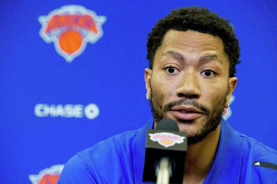 Derrick Rose speaks during a recent news conference at Madison Square Garden. Photo: Mary Altaffer — The Associated Press File  / Copyright 2016 The Associated Press. All rights reserved.