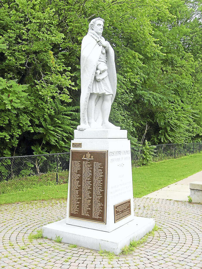 The Christopher Columbus monument at Harbor Park in Middletown Photo: Contributed Photo