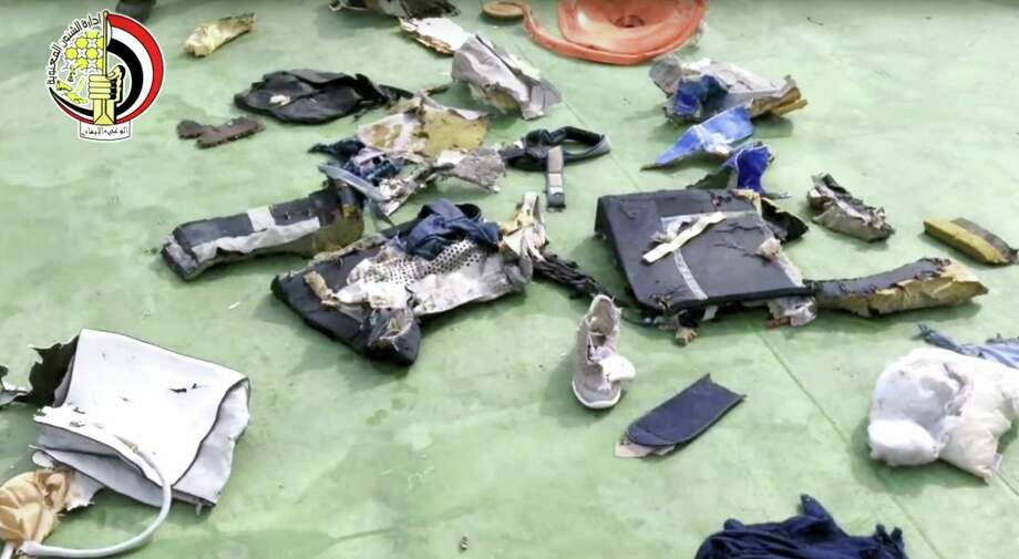 This still file image taken from video posted Saturday, May 21, 2016, on the official Facebook page of the Egyptian Armed Forces spokesman shows some personal belongings and other wreckage from EgyptAir flight 804. The plane crashed in the Mediterranean Sea in May, 2016, killing all 66 passengers and crew on board. Egypt's Civil Aviation Ministry said Thursday, Dec. 15, 2016, that traces of explosives have been found on some of the victims of the  flight. A ministry statement said a criminal investigation will now begin into the crash of Flight 804. No one has claimed to have attacked the plane. Photo: Egyptian Armed Forces Via AP   / Egyptian Armed Forces
