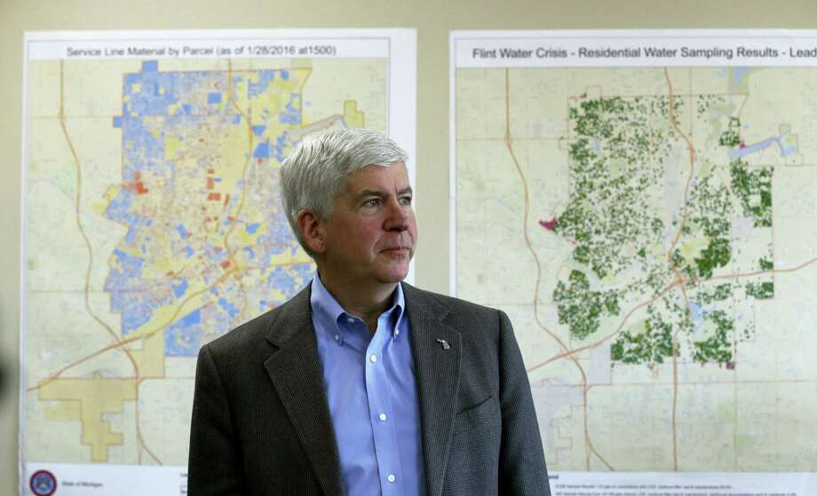 In this Feb. 18, 2016, file photo, Gov. Rick Snyder addresses the media in Flint, Mich. Michigan would have the toughest lead-testing rules in the nation and require the replacement of all underground lead service pipes in the state under a sweeping plan Gov. Rick Snyder and a team of water experts are unveiling Friday, April 15, 2016, in the wake of Flint's water crisis. Photo: AP Photo/Carlos Osorio   / Copyright 2016 The Associated Press. All rights reserved. This material may not be published, broadcast, rewritten or redistributed without permission.