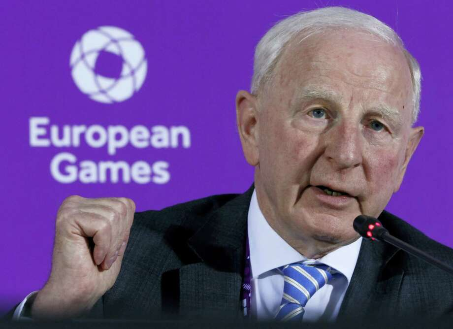 In this June 11, 2015 photo, Patrick Hickey, the head of the European Olympic Committee speaks during a news conference on the eve of the opening of the 2015 European Games in Baku, Azerbaijan. Rio de Janeiro authorities have issued an arrest warrant for Hickey accused of scalping tickets for the Summer Games. Photo: AP Photo/Dmitry Lovetsky, File  / Copyright 2016 The Associated Press. All rights reserved. This material may not be published, broadcast, rewritten or redistribu
