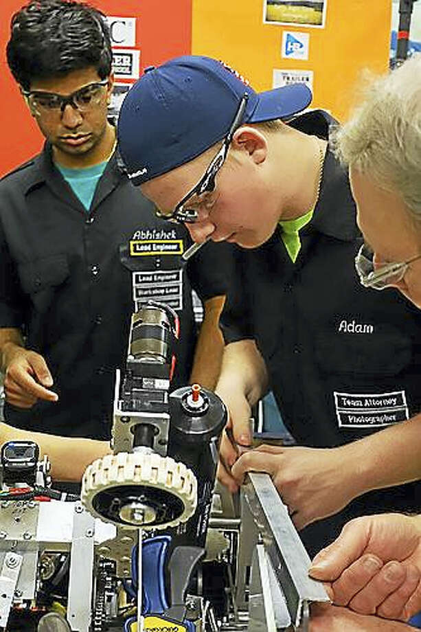 Xavier High School students in the Full Metal Falcons program are among 64 school robotics teams competing in the FIRST Robotics New England District Championship in Hartford. Photo: Contributed Photos