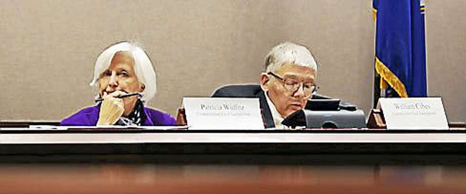 Patricia Widlitz and William Cibes, co-chair the Spending Cap Commission Photo: CTNewsJunkie File Photo