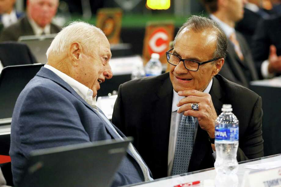 Former New York Yankees manager Joe Torre, right, has been named the general manager for Team USA in the 2017 World Baseball Classic. Photo: Julio Cortez — The Associated Press  / Copyright 2016 The Associated Press. All rights reserved. This material may not be published, broadcast, rewritten or redistribu