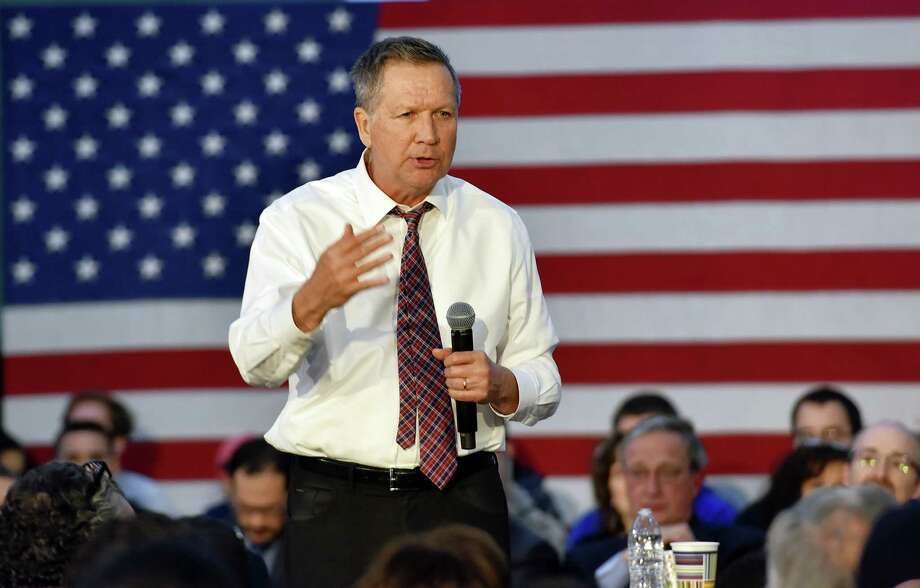 Ohio Governor and Republican Presidential candidate John Kasich speaks during a town hall meeting at Mohawk Valley Community College on Apr. 15 in Utica, N.Y. Photo: The Associated Press  / Observer-Dispatch