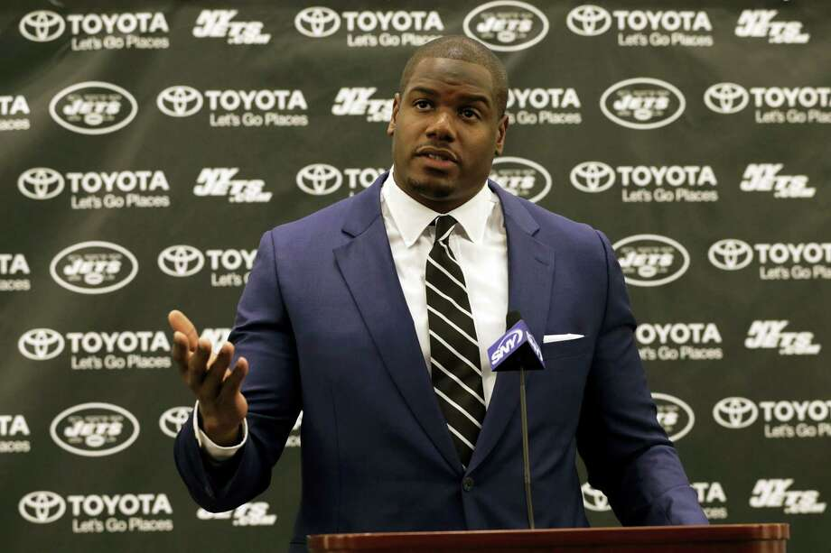 D'Brickashaw Ferguson speaks to the media about retiring during a press conference on Thursday in Florham Park, N.J. Photo: Adam Hunger — The Associated Press  / FR110666 AP