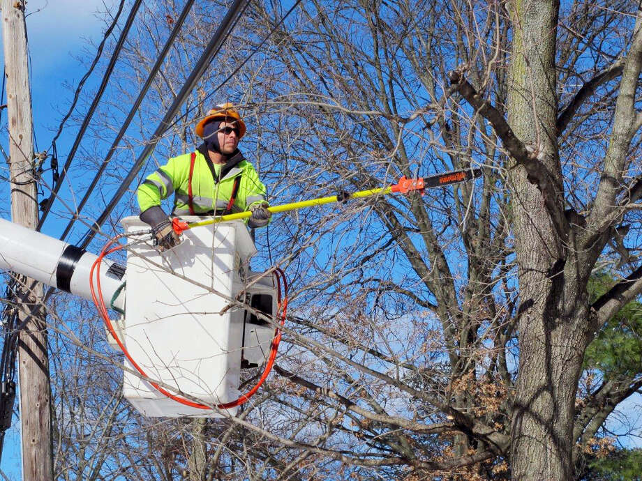 In this Jan. 27, 2016 photo, Rafael Panavala, an employee with Asplundh Tree Service, prunes branches off a tree in Plandome Heights, N.Y. Photo: AP Photo/Frank Eltman  / AP