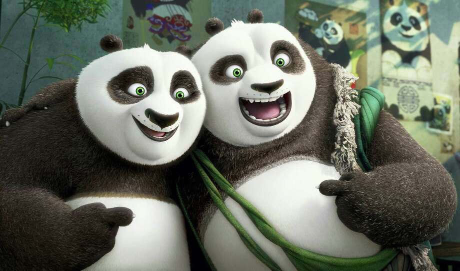"This image released by DreamWorks Animation shows characters Po, voiced by Jack Black, left, and his long-lost panda father Li, voiced by Bryan Cranston, in a scene from ""Kung Fu Panda 3."" Photo: DreamWorks Animation Via AP  / DreamWorks Animation"