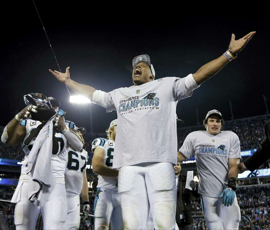 Panthers quarterback Cam Newton celebrates after his team's win in the NFC Championship game. Register columnist Chip Malafronte says if the Panthers win Super Bowl 50, they deserve to be in the conversation as one of the greatest teams in NFL history. Photo: The Associated Press File Photo  / AP
