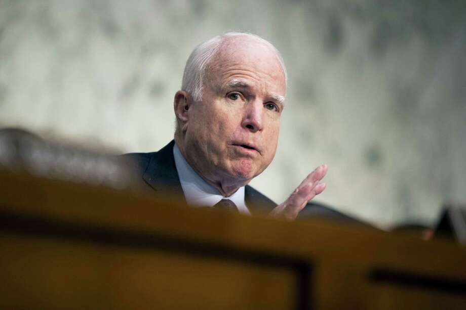 "Sen. John McCain, R-Ariz. speaks on Capitol Hill in Washington. McCain says President Barack Obama is ""directly responsible"" for the mass shooting in Orlando, Fla. in which a gunman killed 49 people because he allowed the growth of the Islamic State on his watch. Photo: AP Photo — Evan Vucci, File / Copyright 2016 The Associated Press. All rights reserved. This material may not be published, broadcast, rewritten or redistributed without permission."