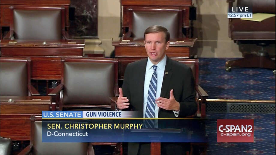 This frame grab provided by C-SPAN shows U.S. Sen. Christopher Murphy, D-Conn., speaking Wednesday on the floor of the Senate, where he launched a filibuster demanding a vote on gun-control measures. The move comes three days after people were killed in a mass shooting in Orlando, Florida. Photo: Senate Television Via AP   / C-SPAN