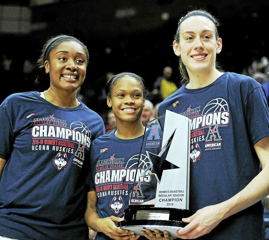 From left are UConn's Morgan Tuck, Moriah Jefferson and Breanna Stewart. The trio has a chance to be the first set of college teammates to be selected with the top three picks in a professional draft. Photo: The Associated Press File Photo  / FR125654 AP