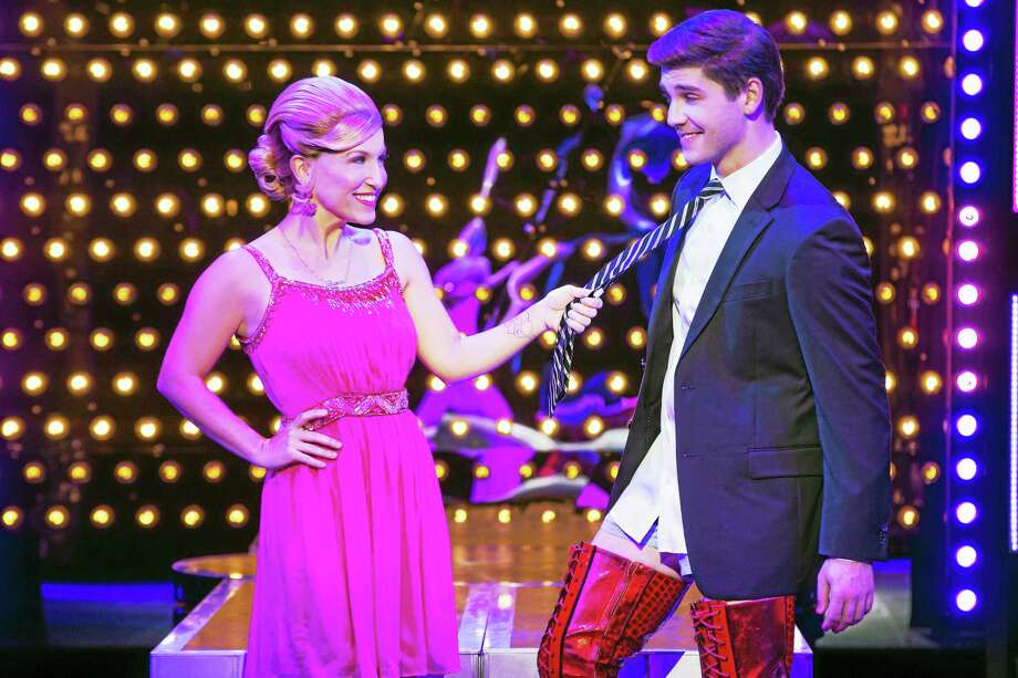 Photo by Matthew MurphyTiffany Engen and Adam Kaplan in the National Tour of Kinky Boots, which is making a stop at the Palace Theater in Waterbury in December. Photo: Journal Register Co.