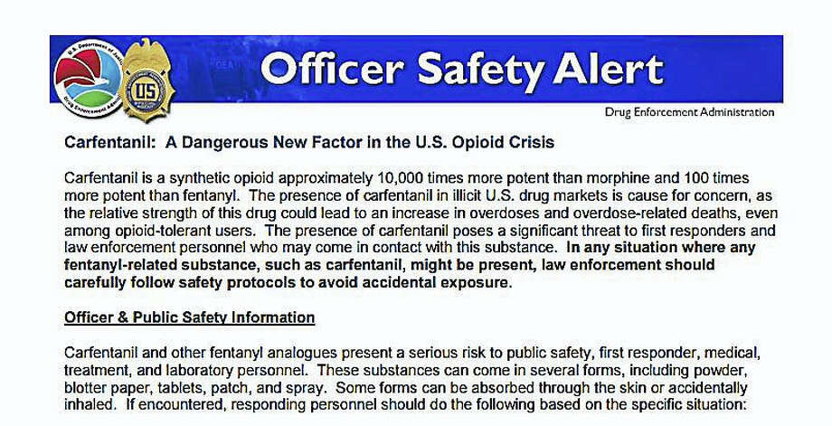 A screenshot of the DEA Officer Safety Warning distributed to local emergency medical services in Connecticut. Photo: Digital First Media