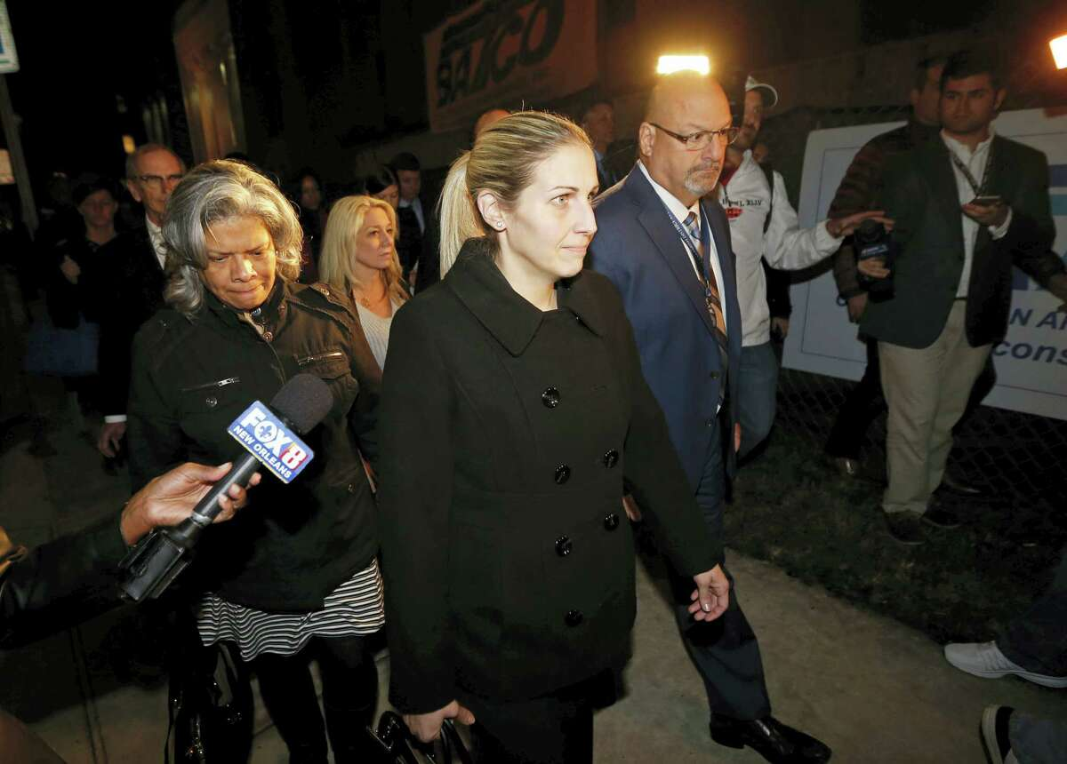 Prosecutor Laura Rodrigue leave Orleans Parish Criminal District Court after the verdict in the Cardell Hayes murder trial in New Orleans on Dec. 11, 2016. Hayes, who was charged with second degree murder, was convicted of manslaughter in the shooting death of former New Orleans Saints football player Will Smith, in a road rage incident.